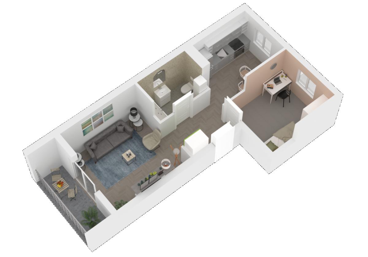 Mieszkanie 47,08 m2, Zaciszna 5, Rzeszów