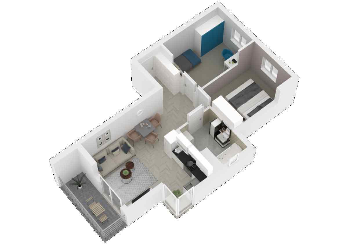 Mieszkanie 54,65 m2, Zaciszna 5, Rzeszów