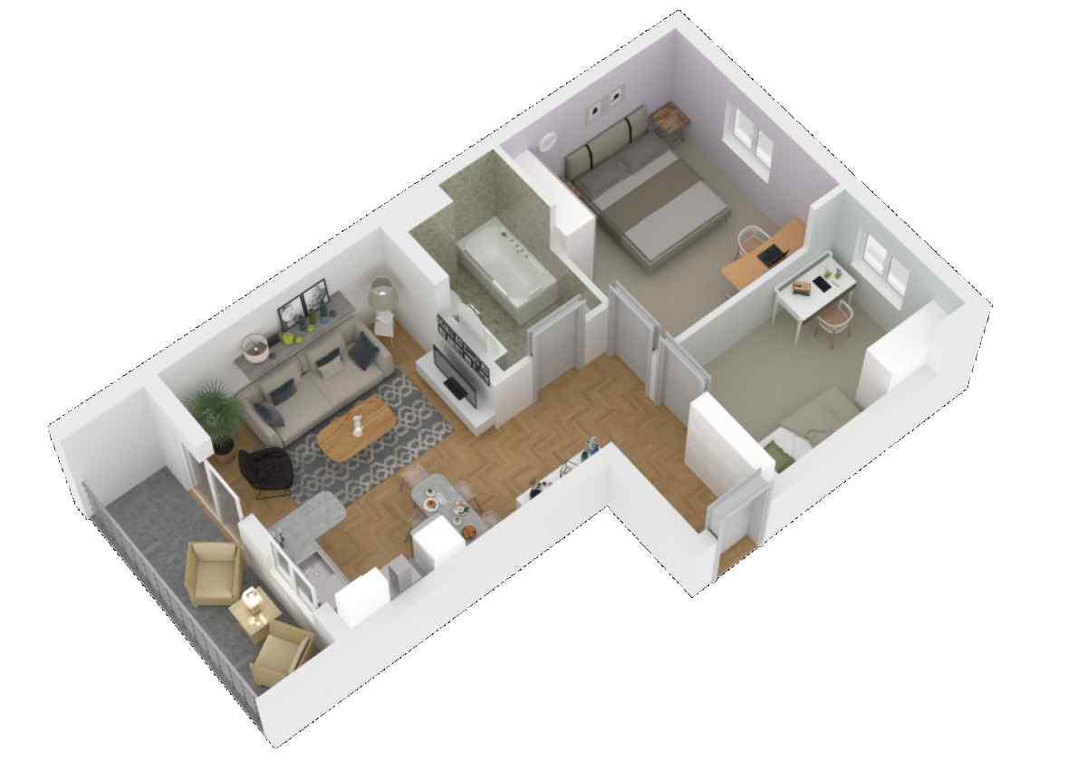 Mieszkanie 58,19 m2, Zaciszna 5, Rzeszów