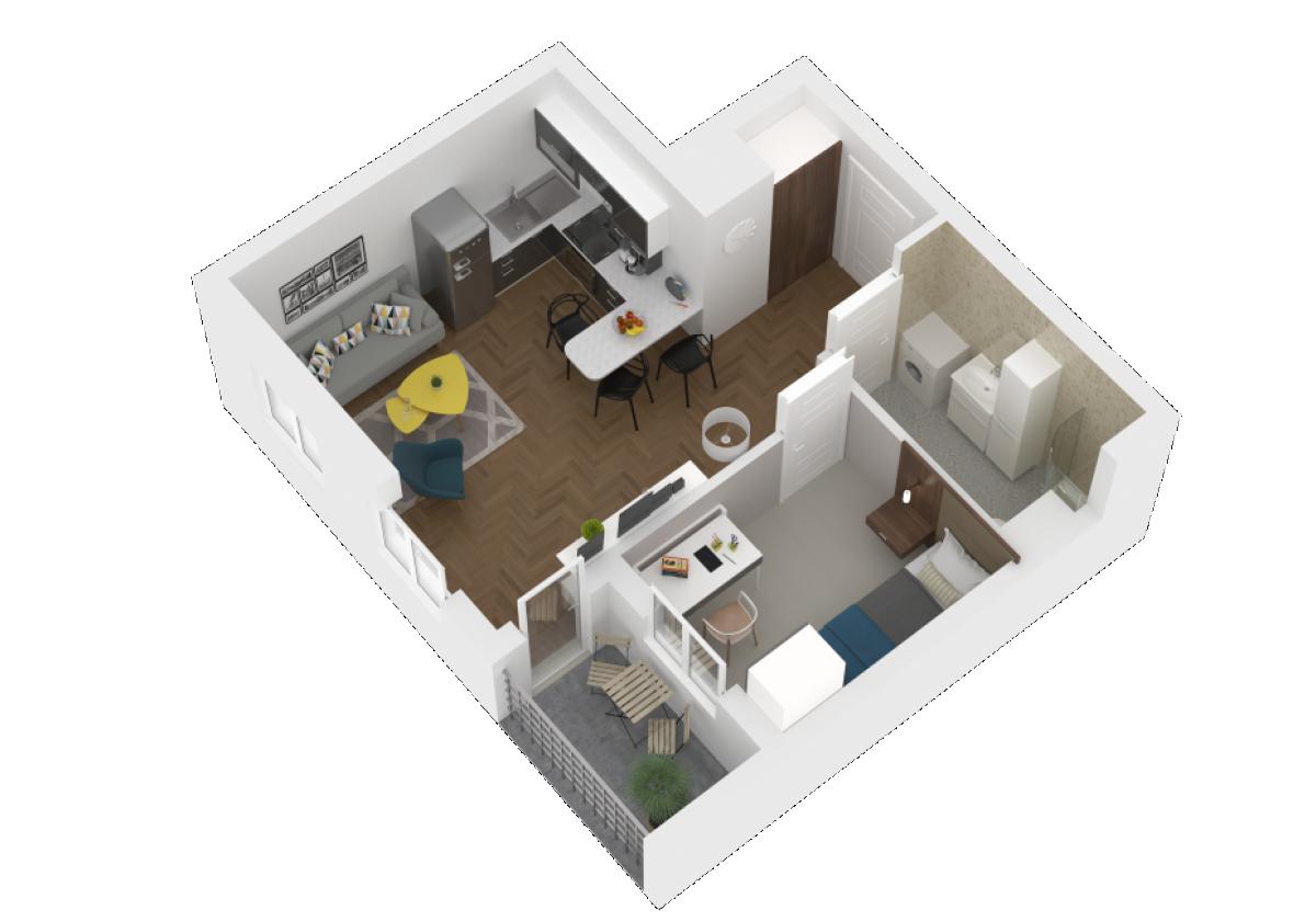 Mieszkanie 36,7 m2, Zaciszna 5, Rzeszów