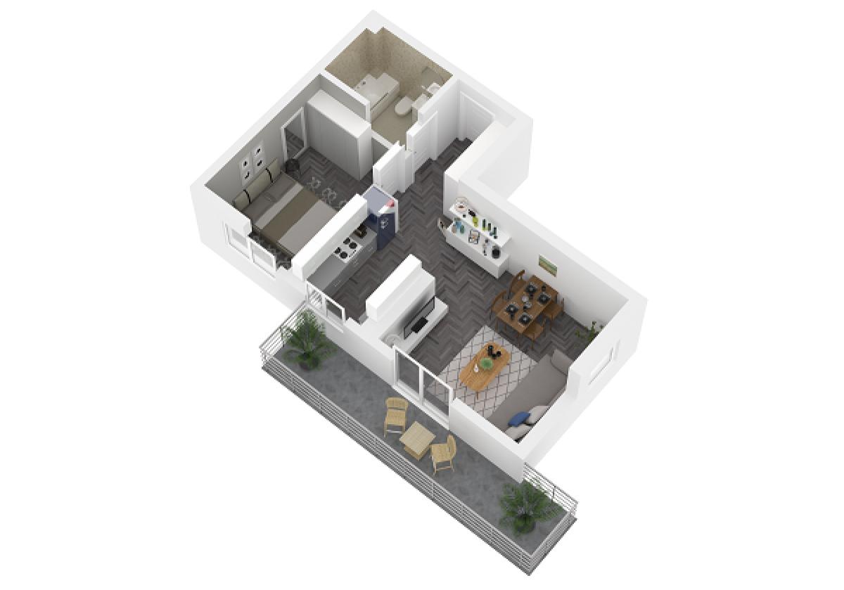 Mieszkanie 45,26 m2, Lubelska, Rzeszów