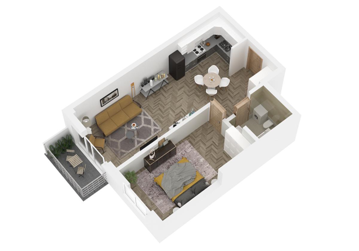 Mieszkanie 45,27 m2, Lubelska, Rzeszów