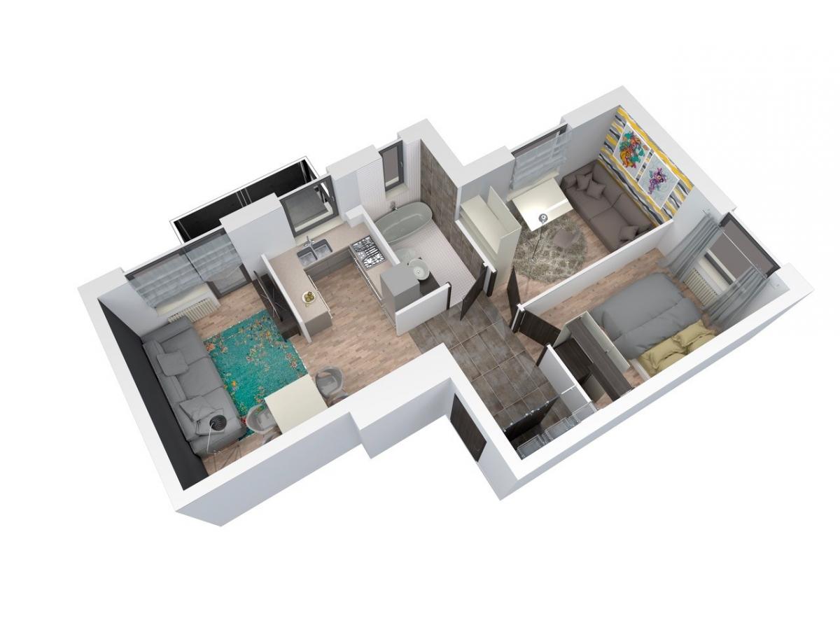 Mieszkanie 56,97 m2, Architektów, Rzeszów