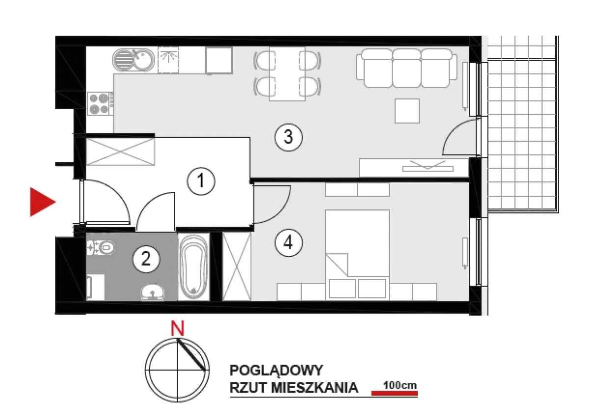 Mieszkanie 45,91 m2, Architektów, Rzeszów