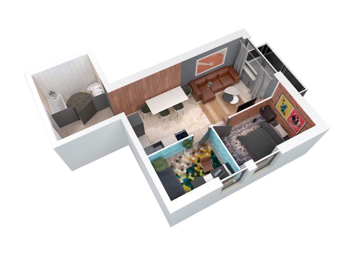 Mieszkanie 48,32 m2, Architektów, Rzeszów
