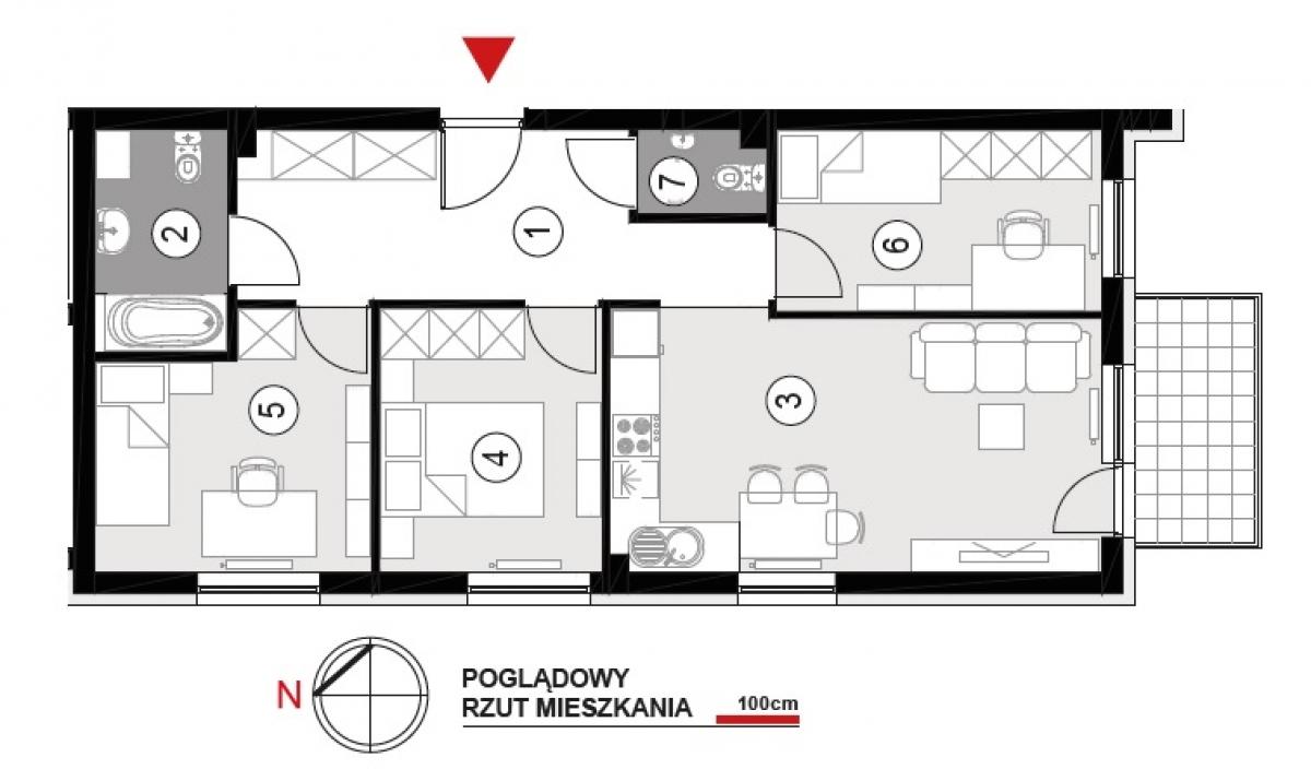 Mieszkanie 64,38 m2, Architektów, Rzeszów