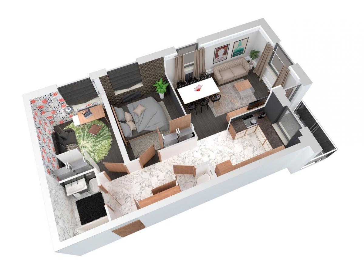 Mieszkanie 66,05 m2, Architektów, Rzeszów