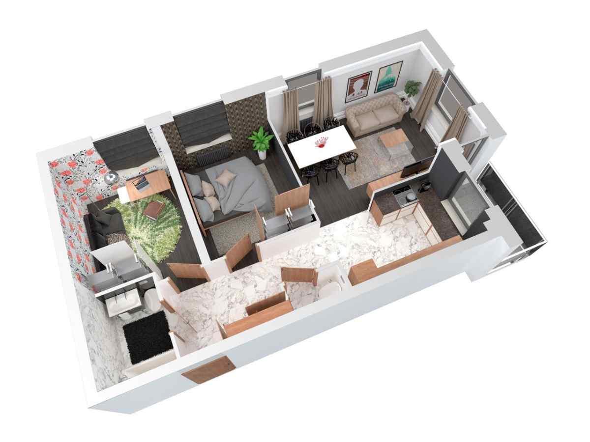 Mieszkanie 65,98 m2, Architektów, Rzeszów