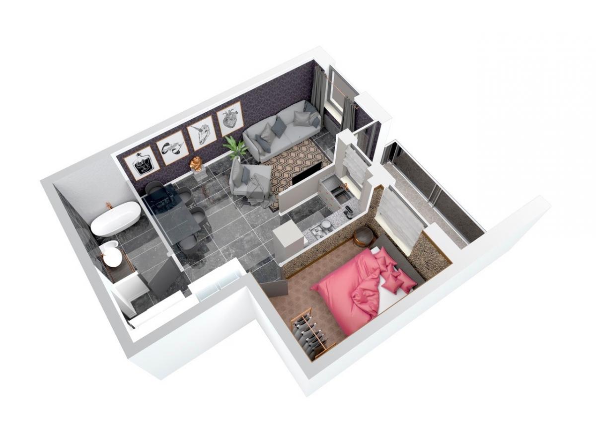 Mieszkanie 49,16 m2, Architektów, Rzeszów