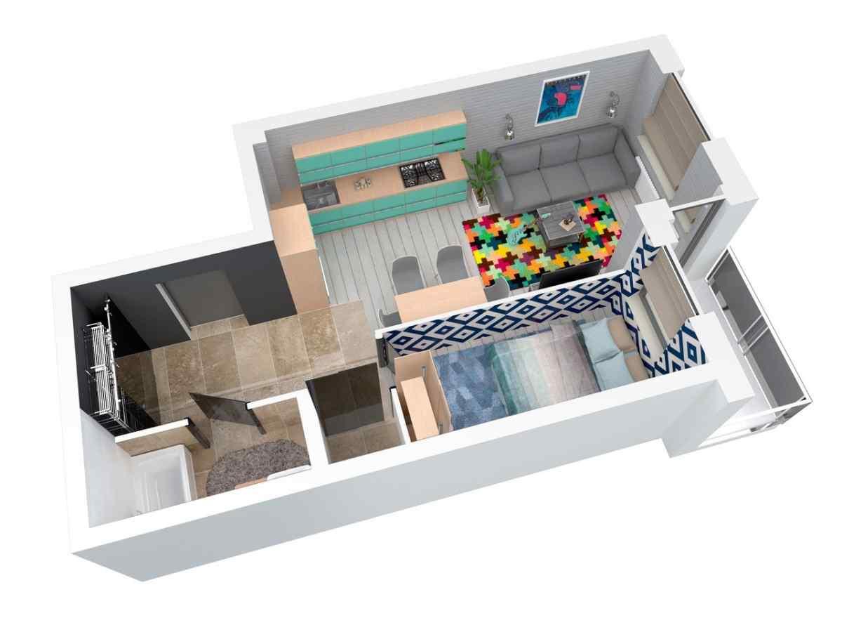 Mieszkanie 43,98 m2, Architektów, Rzeszów