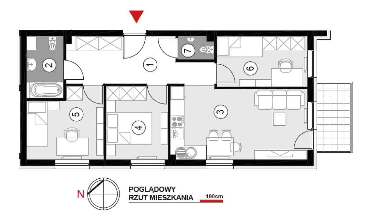 Mieszkanie 64,22 m2, Architektów, Rzeszów