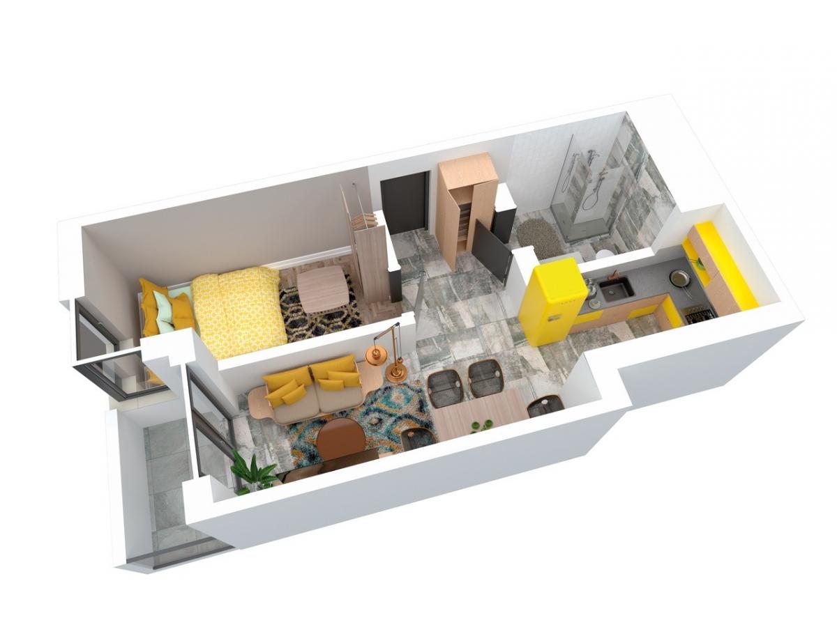 Mieszkanie 38,44 m2, Architektów, Rzeszów