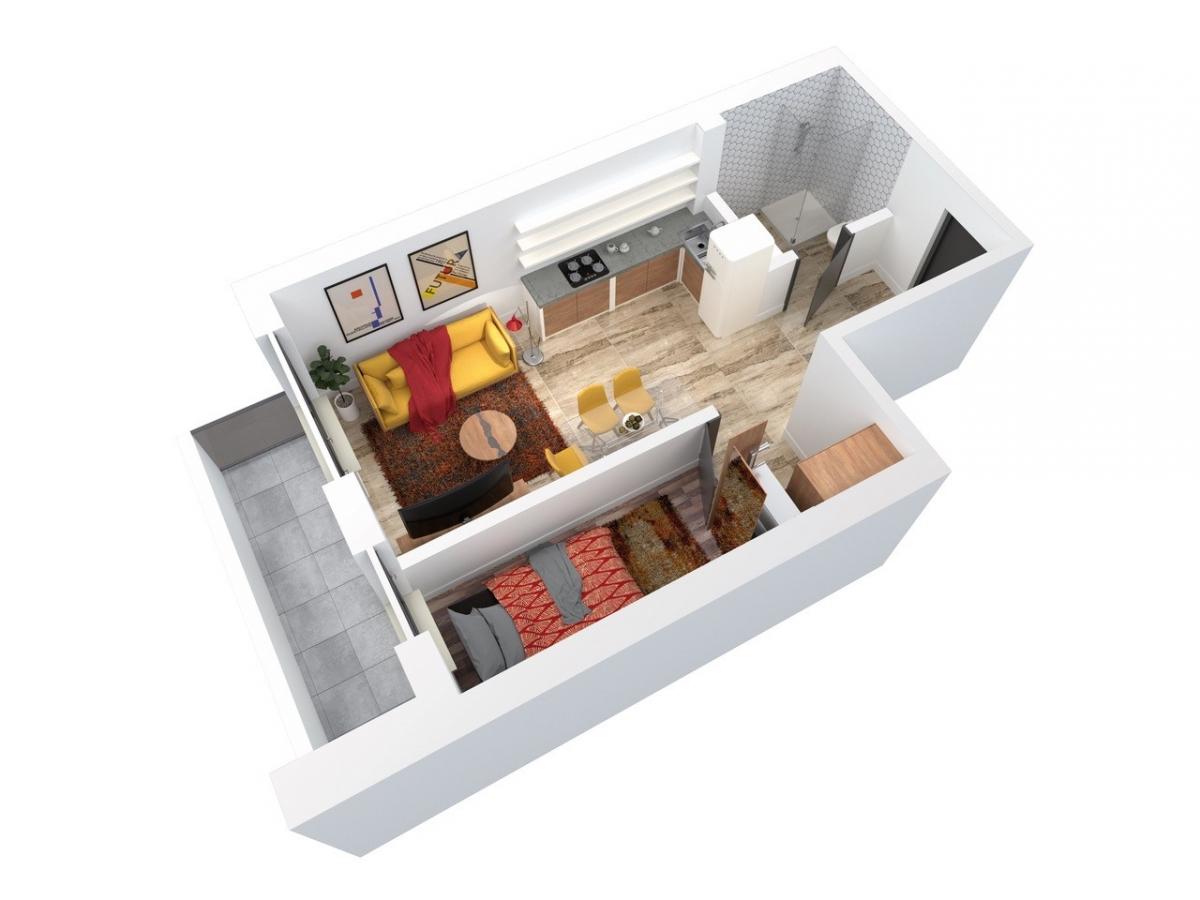 Mieszkanie 40,56 m2, Architektów, Rzeszów
