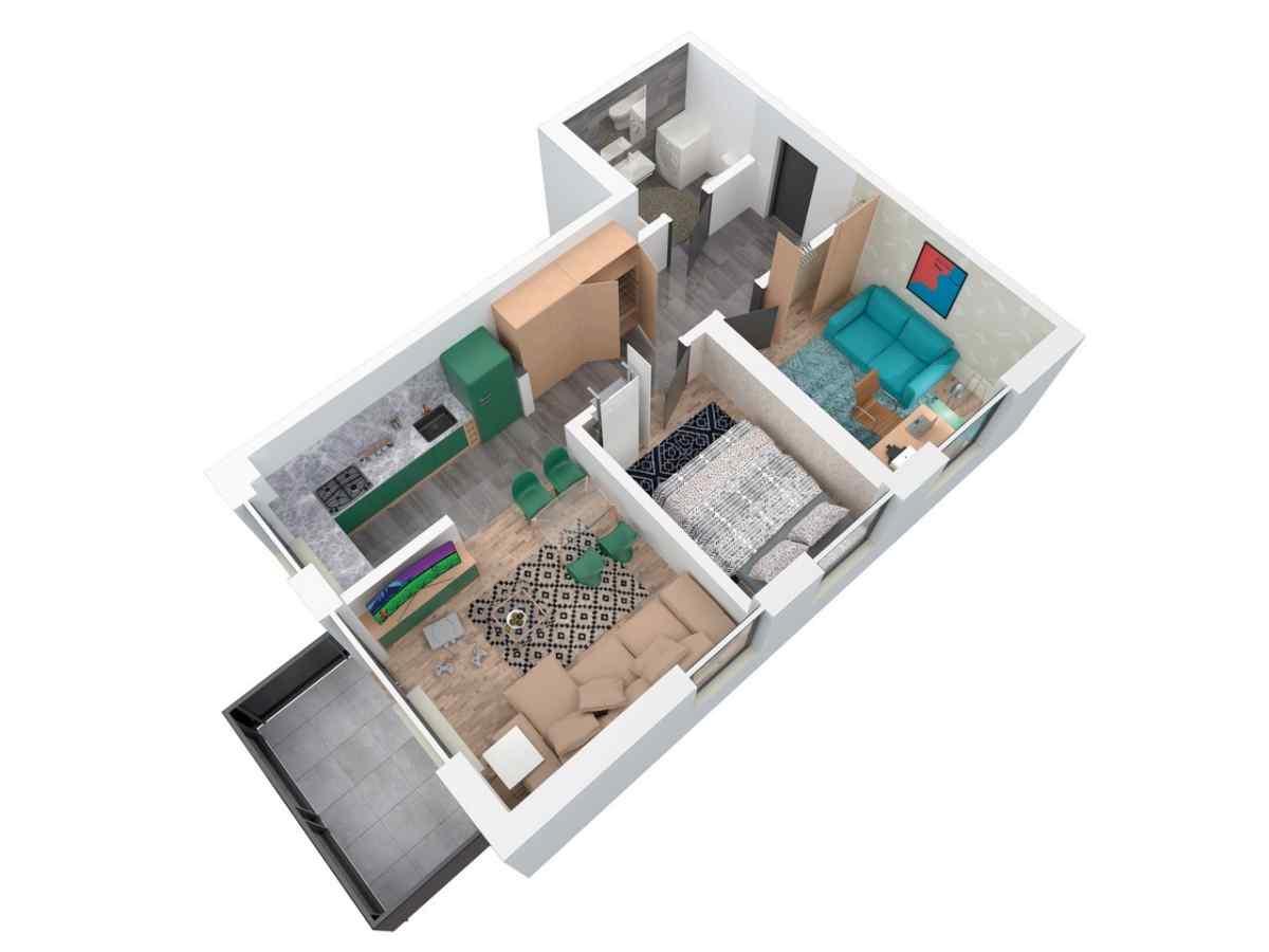 Mieszkanie 59,43 m2, Architektów, Rzeszów