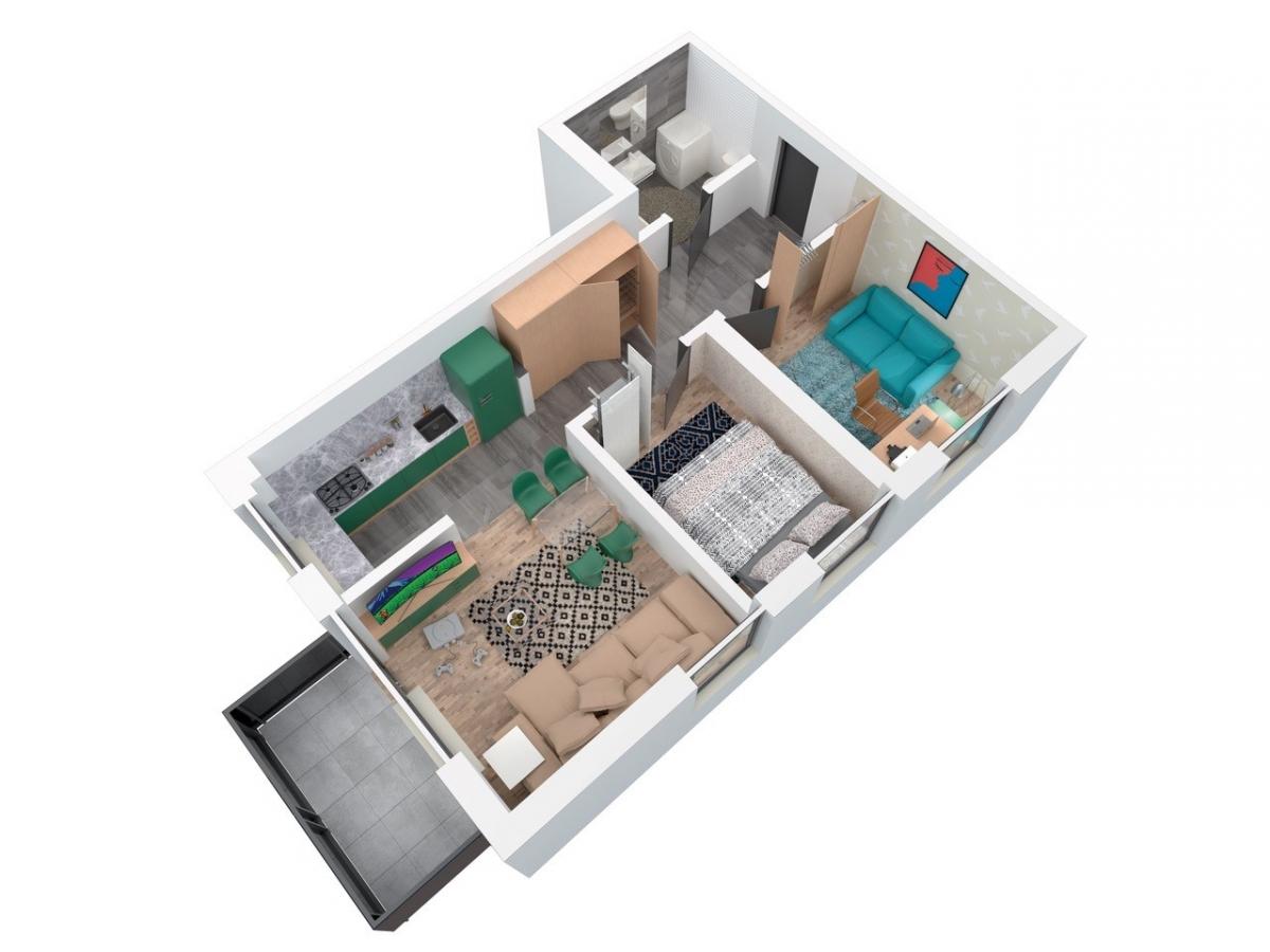 Mieszkanie 59,57 m2, Architektów, Rzeszów
