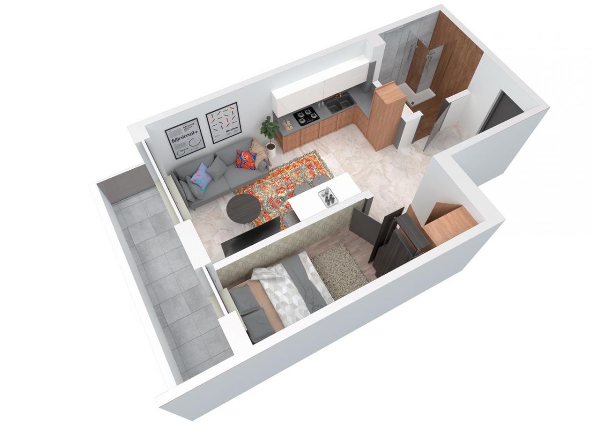 Mieszkanie 40,59 m2, Architektów, Rzeszów