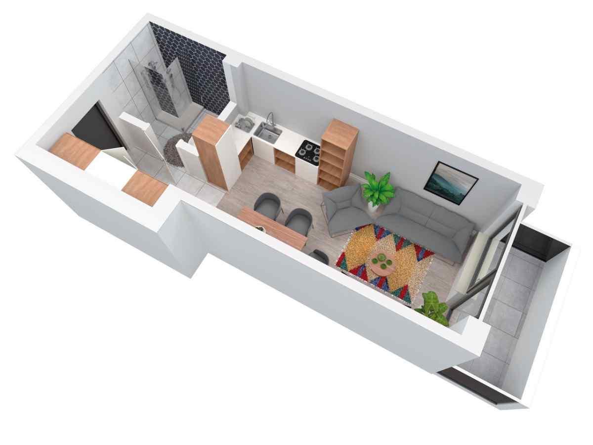 Mieszkanie 27,43 m2, Architektów, Rzeszów