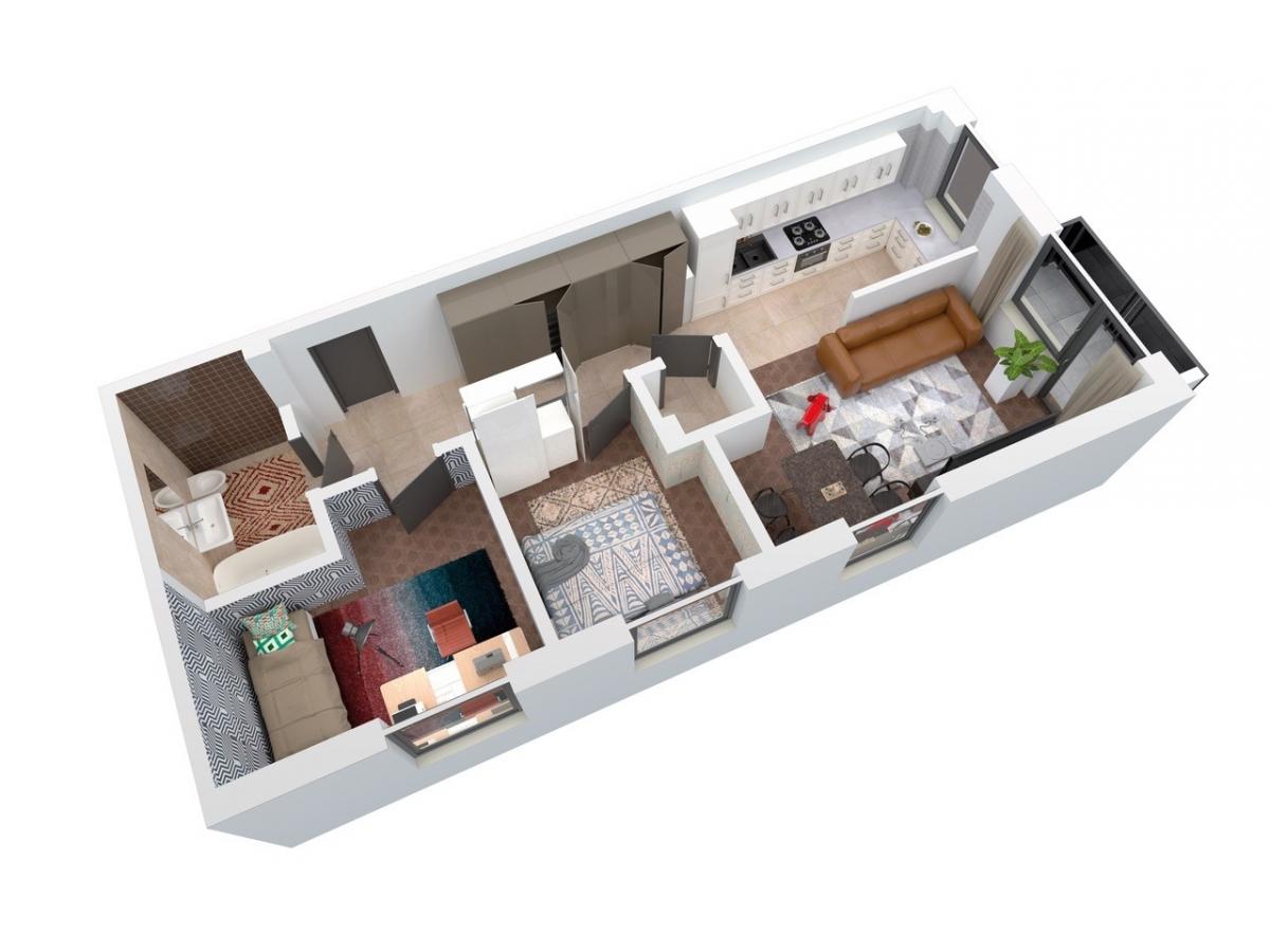 Mieszkanie 64,46 m2, Architektów, Rzeszów