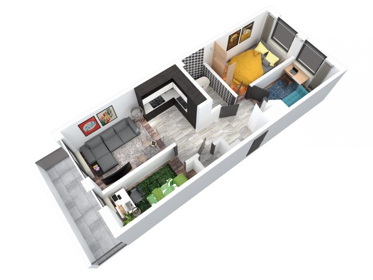Mieszkanie 62,36 m2, Architektów, Rzeszów