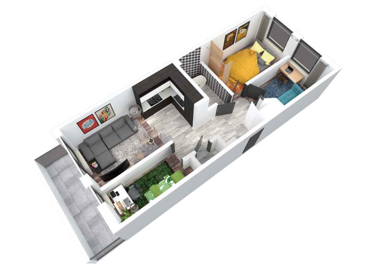 Mieszkanie 62,38 m2, Architektów, Rzeszów