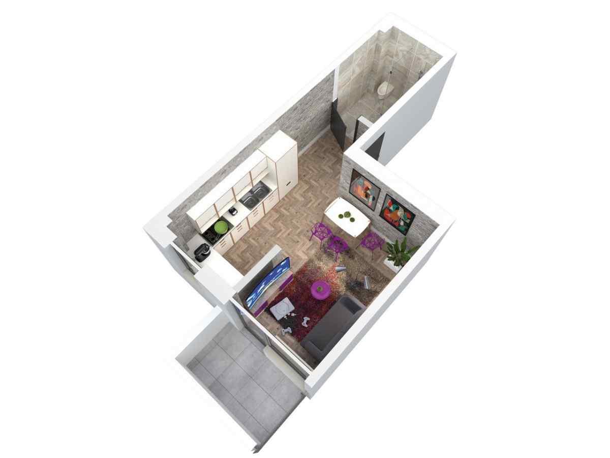Mieszkanie 25,49 m2, Architektów, Rzeszów