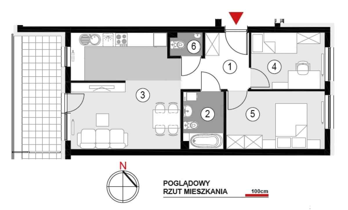 Mieszkanie 54,96 m2, Architektów, Rzeszów
