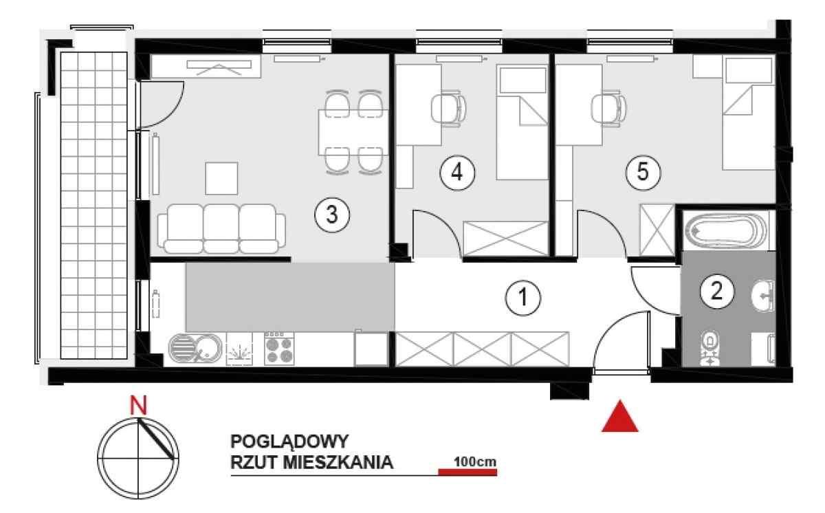 Mieszkanie 56,65 m2, Architektów, Rzeszów