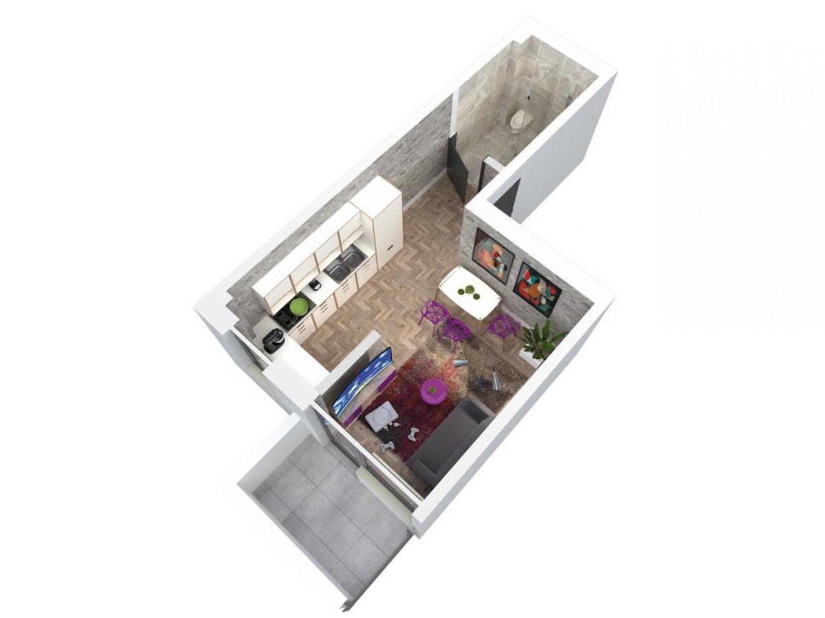 Mieszkanie 25,42 m2, Architektów, Rzeszów