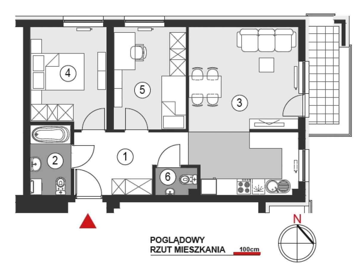 Mieszkanie 60,52 m2, Architektów, Rzeszów