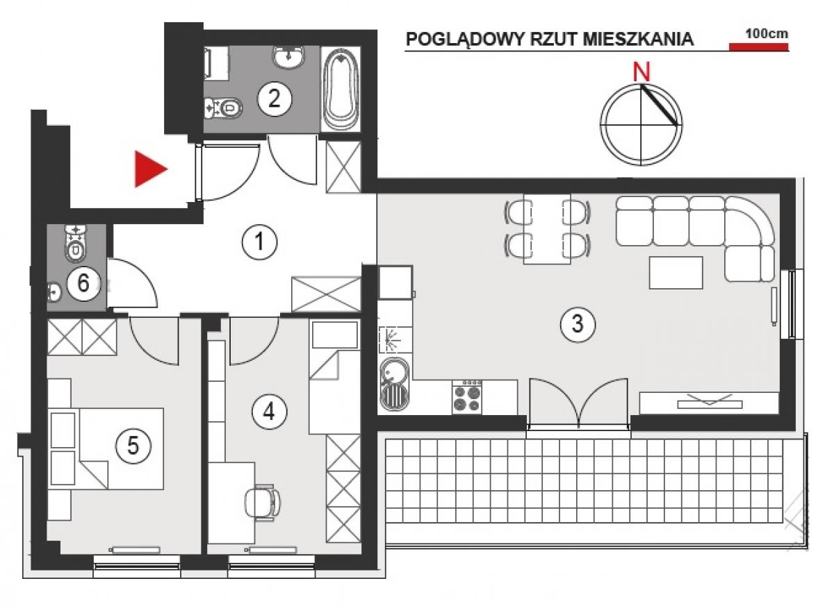Mieszkanie 64,52 m2, Architektów, Rzeszów