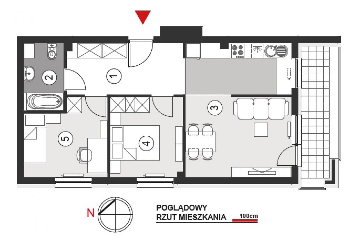 Mieszkanie 56,86 m2, Architektów, Rzeszów