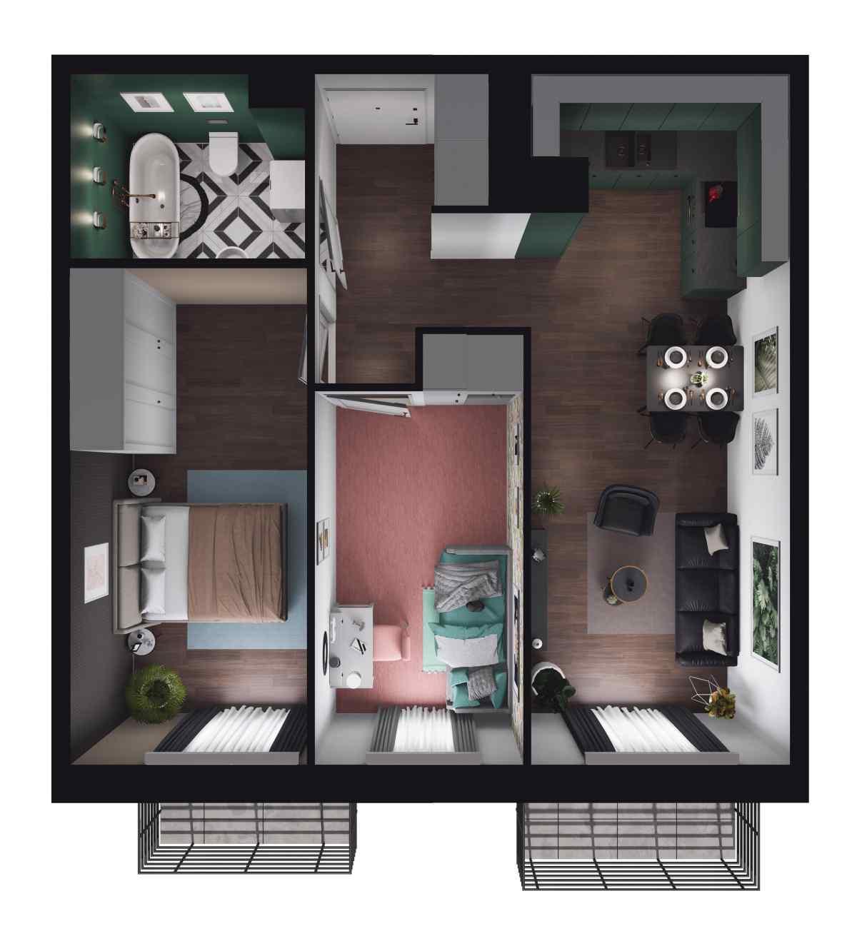 Mieszkanie 52,7 m2, Paderewskiego, Rzeszów