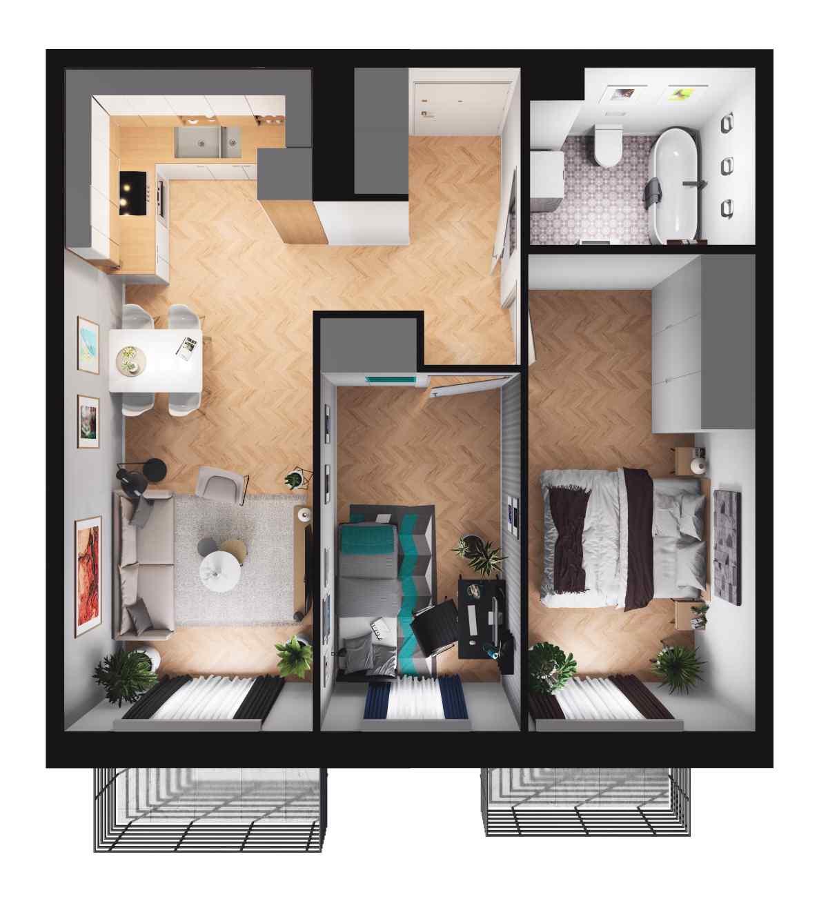 Mieszkanie 52,99 m2, Paderewskiego, Rzeszów