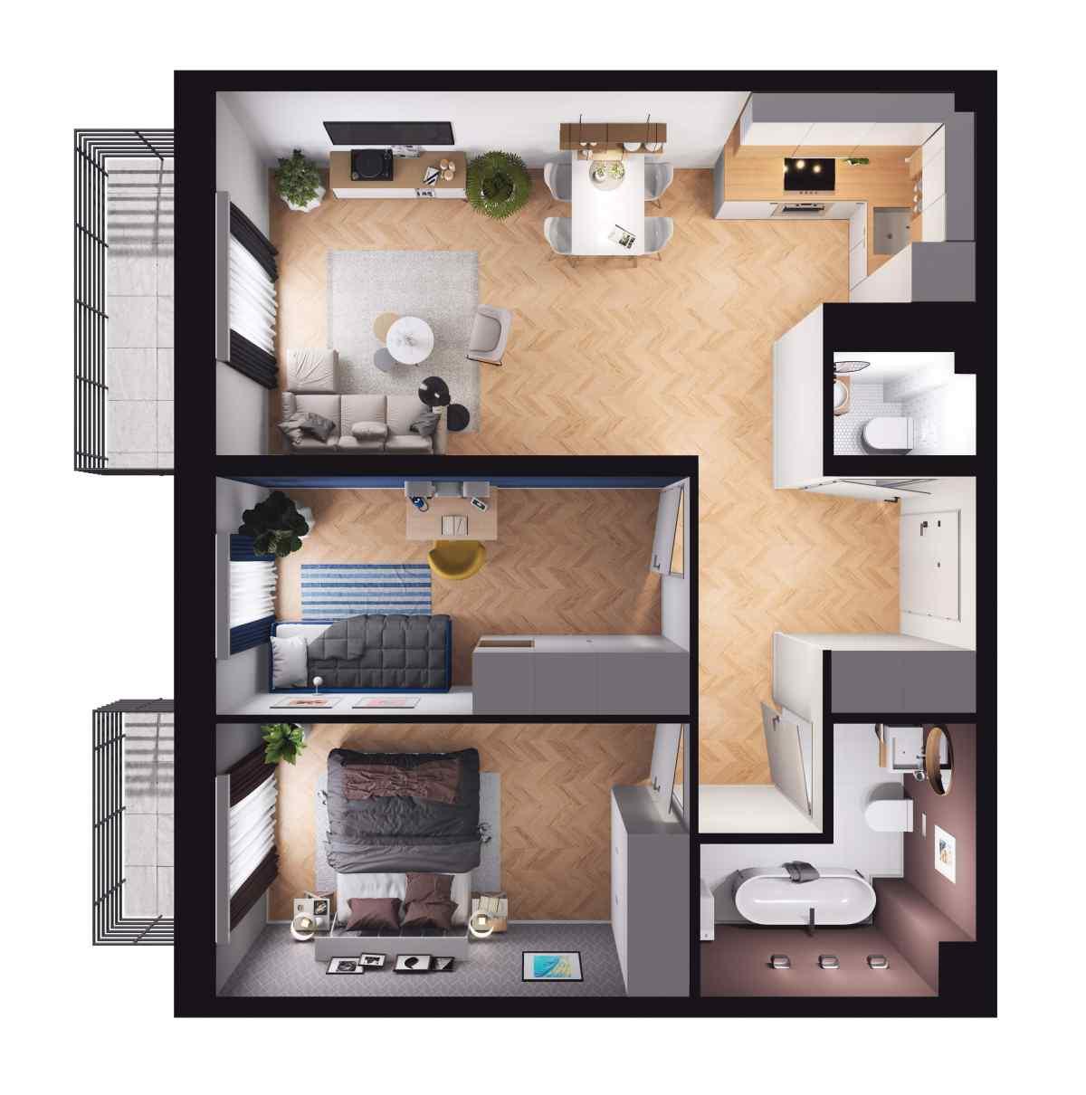Mieszkanie 59,75 m2, Paderewskiego, Rzeszów