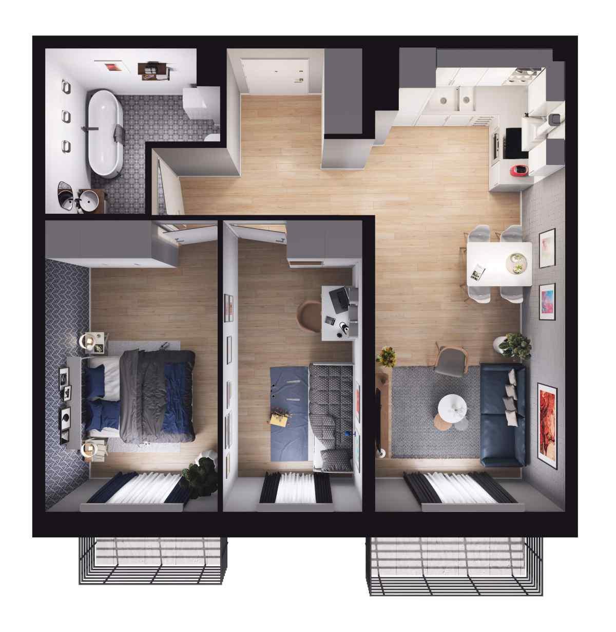 Mieszkanie 56,55 m2, Paderewskiego, Rzeszów