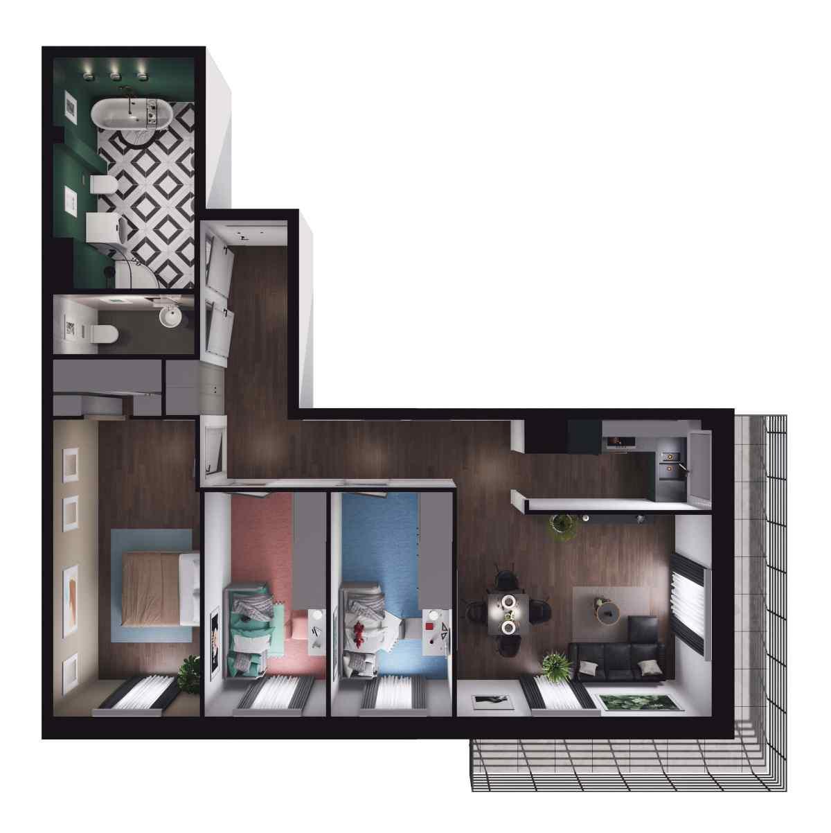 Mieszkanie 77,1 m2, Paderewskiego, Rzeszów