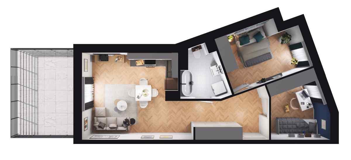 Mieszkanie 49,37 m2, Paderewskiego, Rzeszów