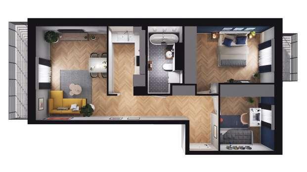 Mieszkanie 57.43 m2