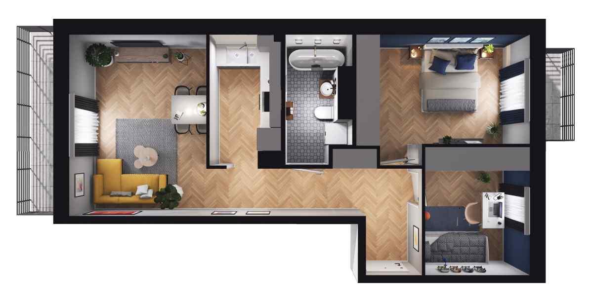 Mieszkanie 57,43 m2, Paderewskiego, Rzeszów
