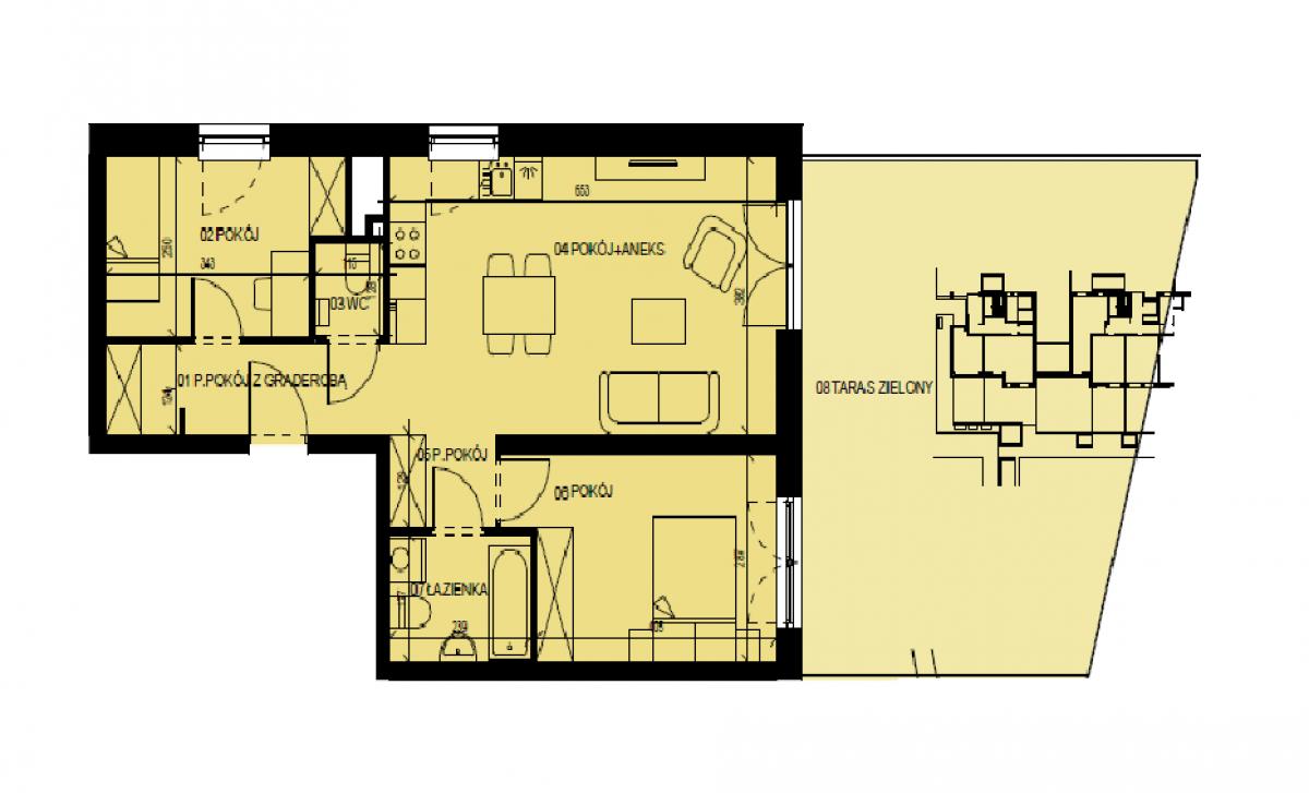 Mieszkanie 60,93 m2, Graniczna, Rzeszów