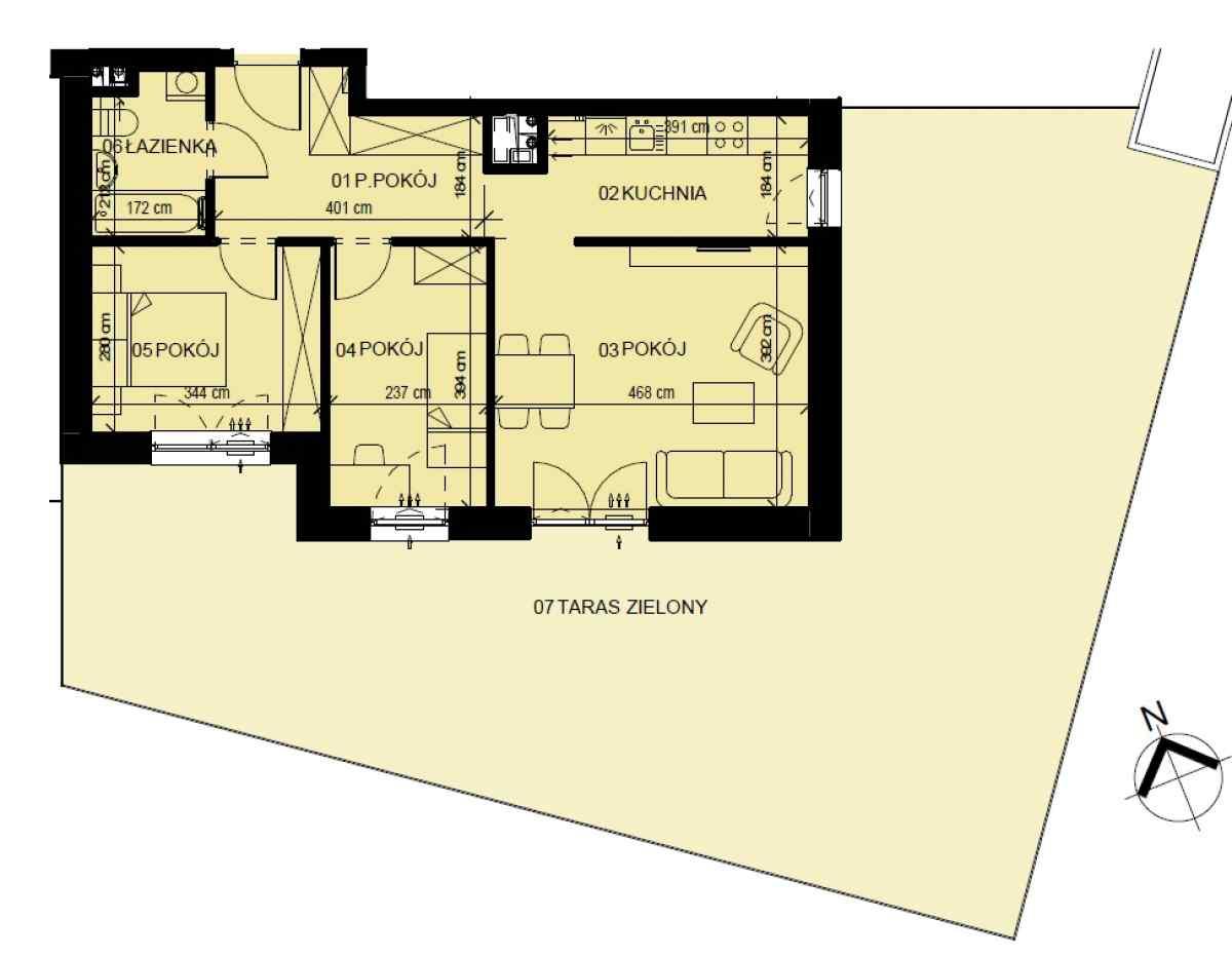 Mieszkanie 58,34 m2, Graniczna, Rzeszów