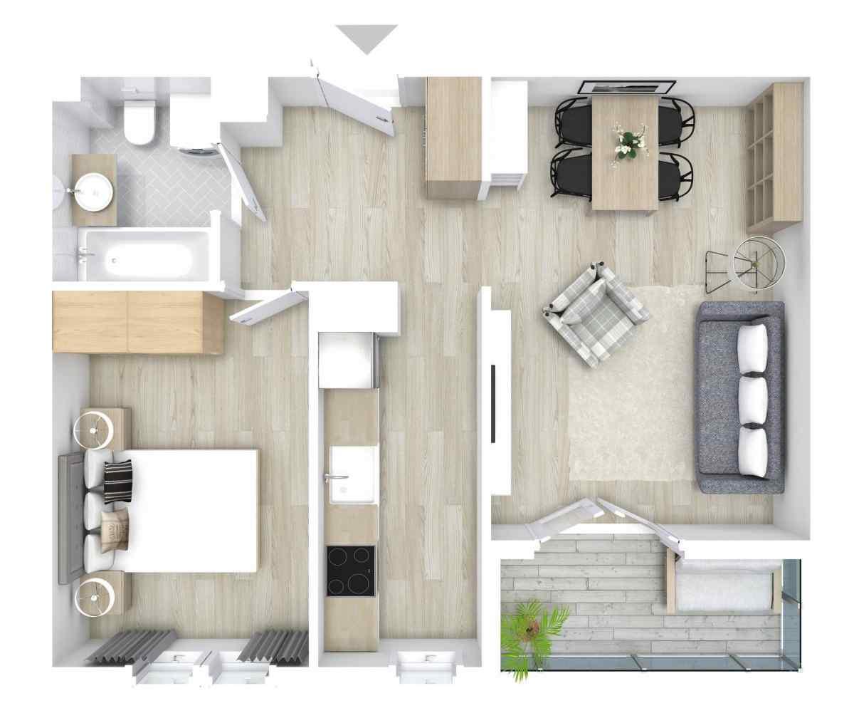 Mieszkanie 46,09 m2, Graniczna, Rzeszów