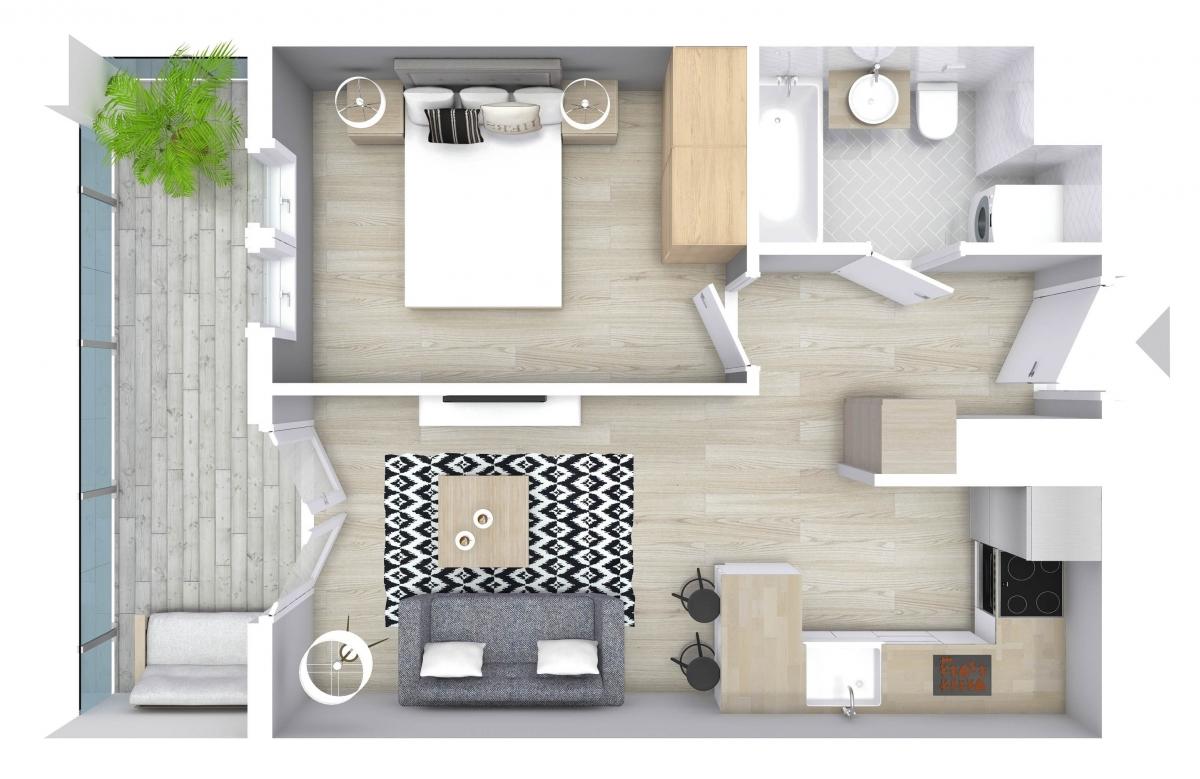 Mieszkanie 36,98 m2, Graniczna, Rzeszów