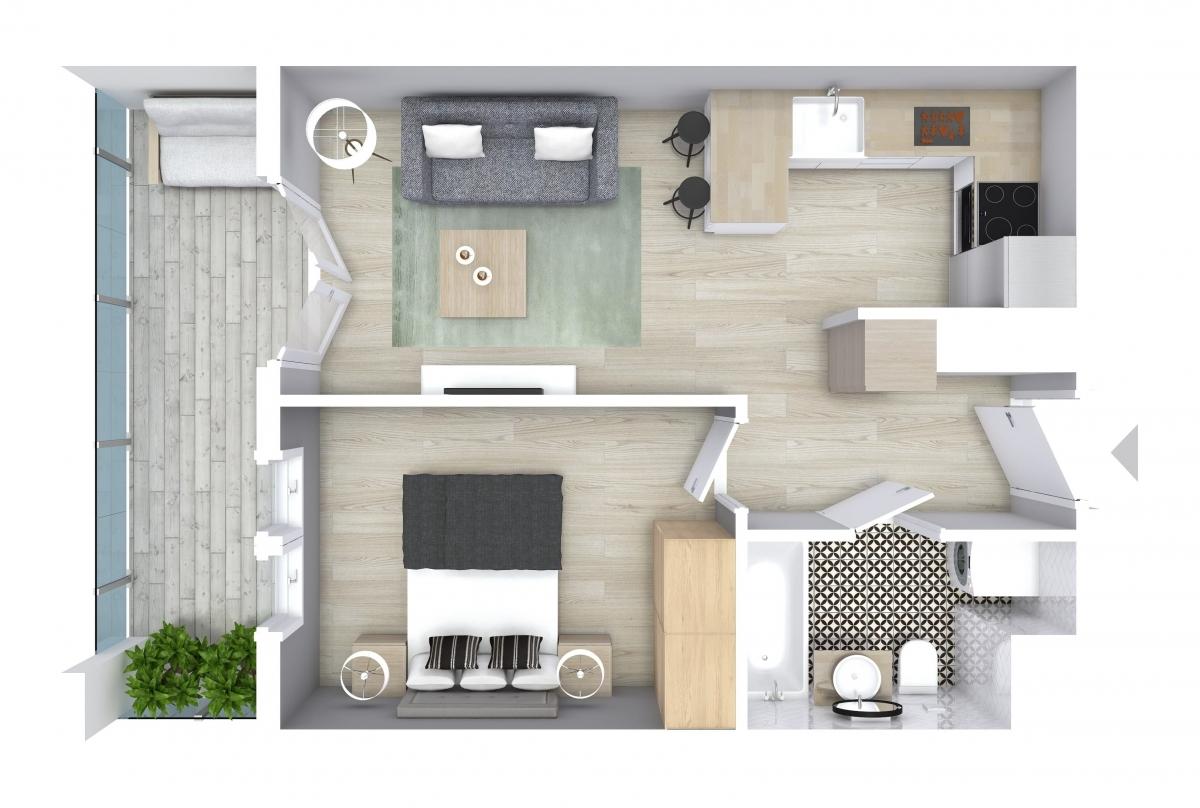 Mieszkanie 34,44 m2, Graniczna, Rzeszów