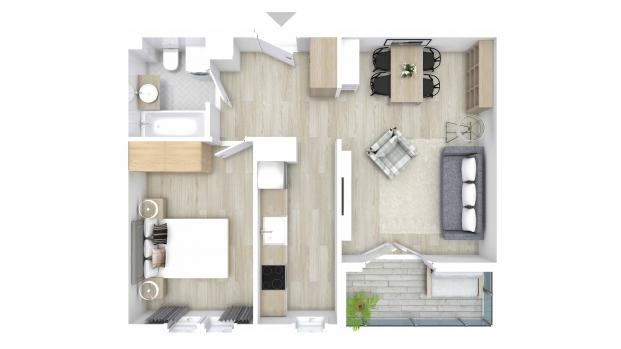 Mieszkanie 46.09 m2