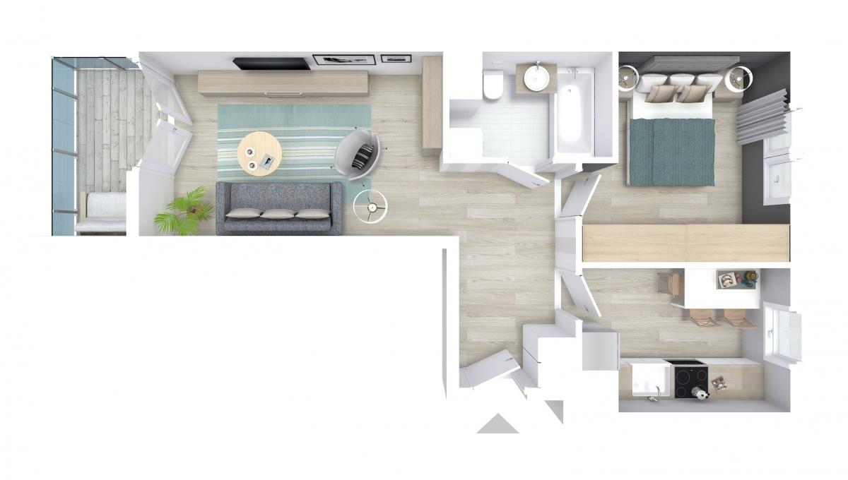 Mieszkanie 45,86 m2, Graniczna, Rzeszów