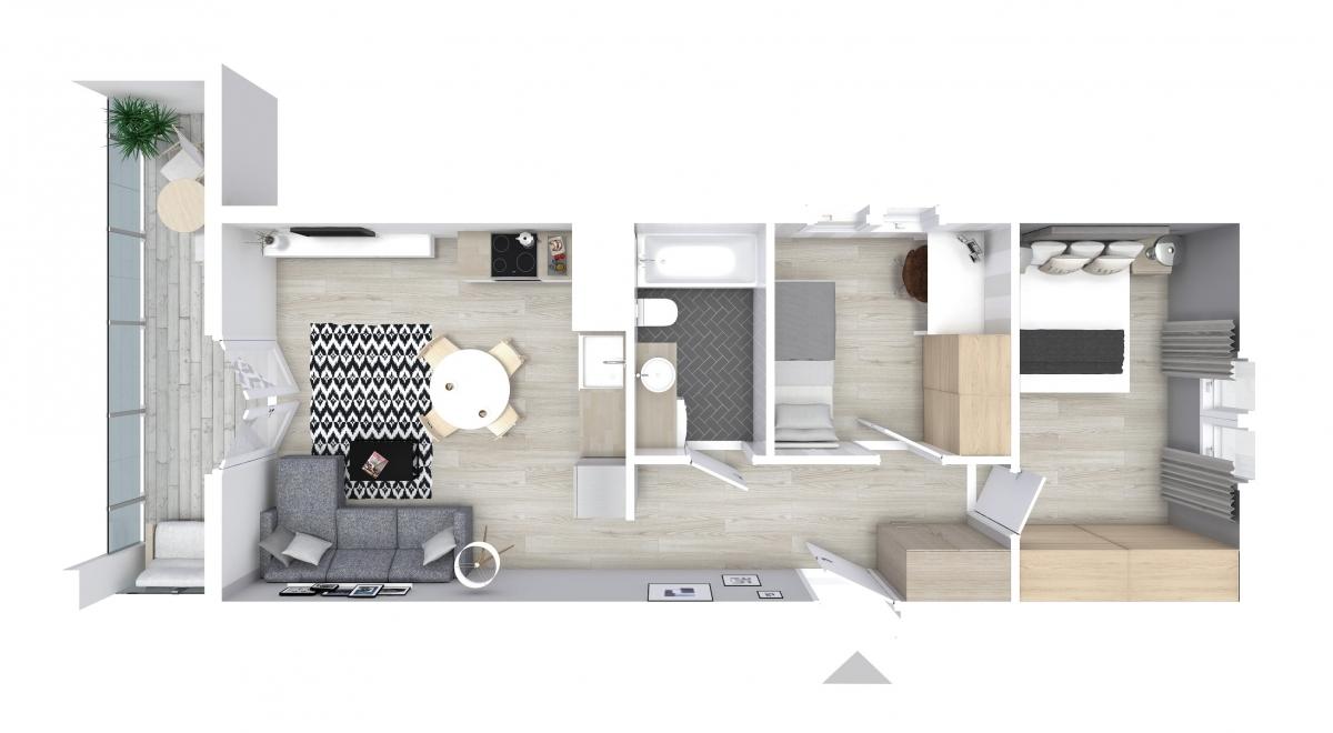 Mieszkanie 51,44 m2, Graniczna, Rzeszów