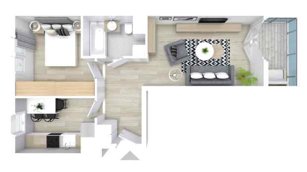 Mieszkanie 45.21 m2