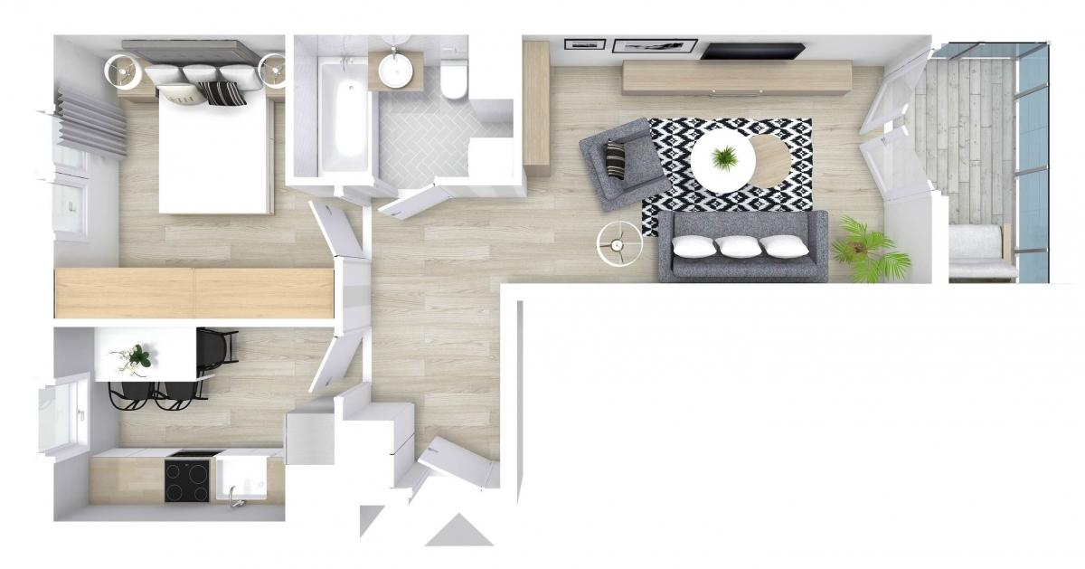 Mieszkanie 45,21 m2, Graniczna, Rzeszów