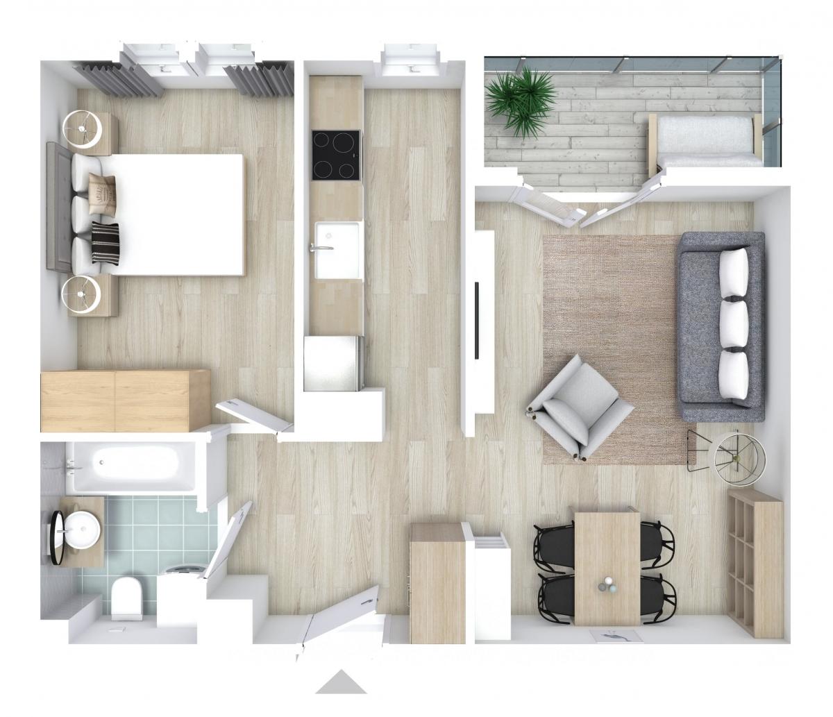 Mieszkanie 47,39 m2, Graniczna, Rzeszów